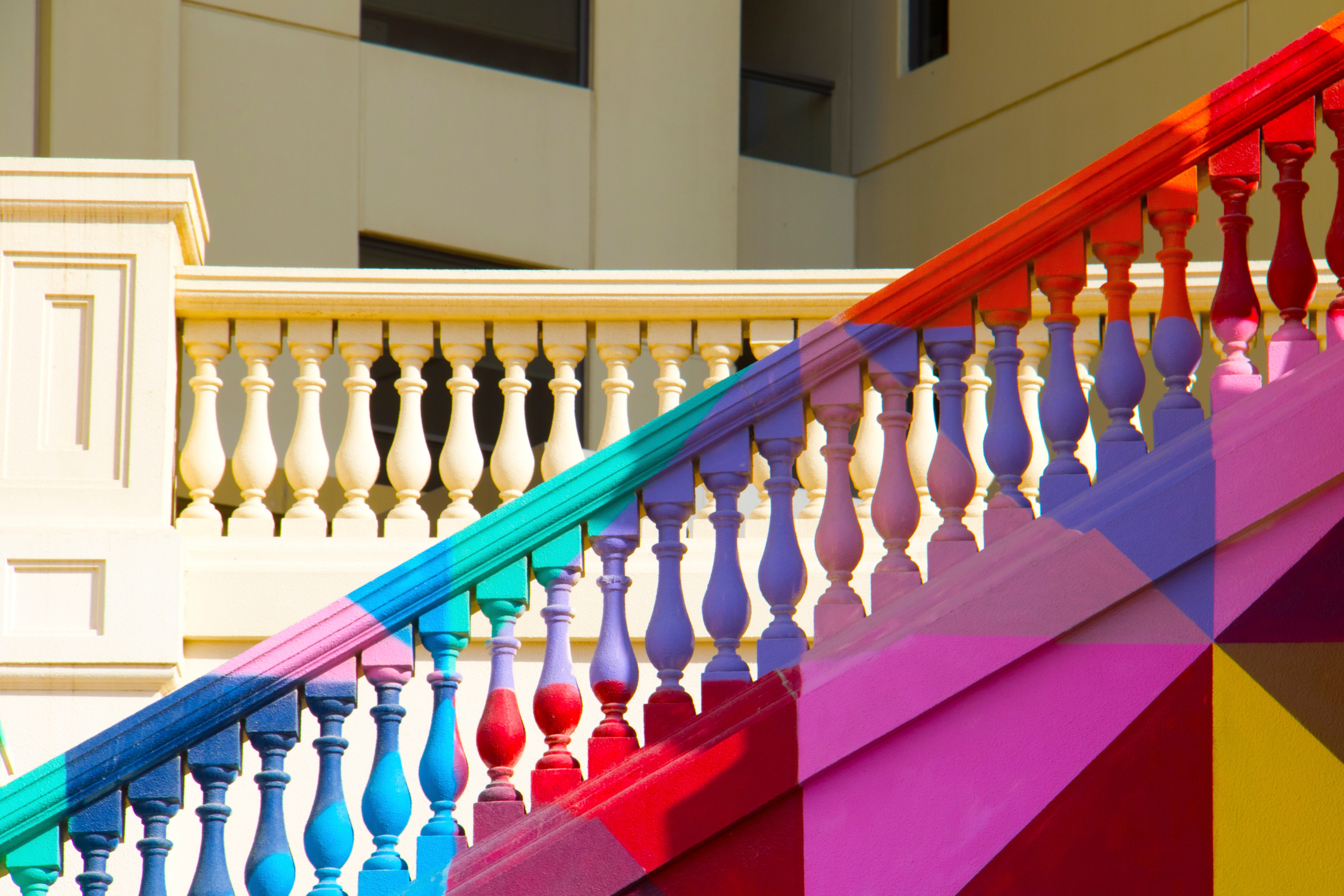 Image of a flight of multicoloured steps
