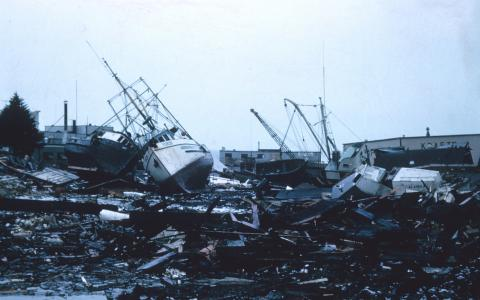 Image of wrecked fishing boats
