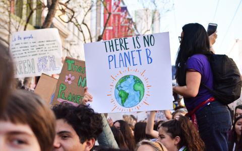 "Image of a placard at a demo saying ""There is no Planet B""."
