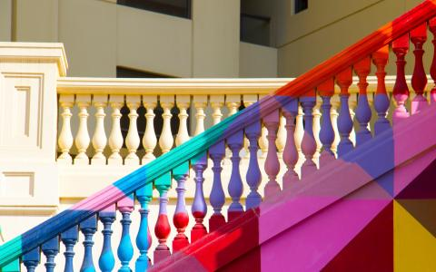Image of multicoloured flight of steps